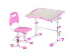 Комплект парта и стул трансформеры Fundesk Vivo 2 (Цвет столешницы:Розовый, Цвет ножек стола:Белый)