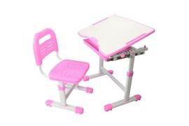 Комплект парта и стул трансформеры Fundesk Sole (Цвет столешницы:Розовый, Цвет ножек стола:Белый)