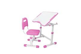 Комплект парта и стул трансформеры Fundesk Sole 2 (Цвет столешницы:Розовый, Цвет ножек стола:Белый)