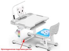 Комплект парта и стульчик Mealux BD-04 New XL Teddy (с лампой) (Белый, Серый)