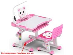 Комплект парта и стульчик Mealux BD-04 New XL Teddy (с лампой) (Белый, Розовый)