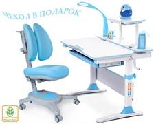 Комплект Mealux EVO-30 (парта Evo-Diego с лампой + кресло Y-115 с двойной спинкой)(дерево) (Белый, Голубой)