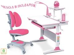 Комплект Mealux EVO-30 (парта Evo-Diego с лампой + кресло Y-115 с двойной спинкой)(дерево) (Белый, Розовый)