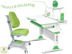 Комплект Mealux EVO-30 (парта Evo-Diego с лампой + кресло Y-110)(дерево) (Белый, Зеленый)
