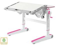Детский стол Mealux ErgoWood M (Белый дуб, Розовый)