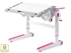 Детский стол Mealux ErgoWood L (Белый, Розовый)