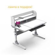 Парта-трансформер для школьника Nerine grey Cubby (Цвет столешницы:Белый, Цвет ножек стола:Белый, Цвет кромки:Серый)