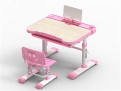 Комплект парта и стул трансформеры Fundesk Bellissima (Цвет столешницы:Беленый дуб, Цвет каркаса:Белый, Цвет кромки:Розовый)