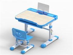 Комплект парта и стул трансформеры Fundesk Bellissima (Цвет столешницы:Беленый дуб, Цвет каркаса:Белый, Цвет кромки:Голубой)
