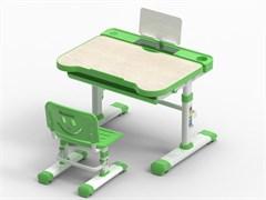 Комплект парта и стул трансформеры Fundesk Bellissima (Цвет столешницы:Беленый дуб, Цвет каркаса:Белый, Цвет кромки:Зеленый)